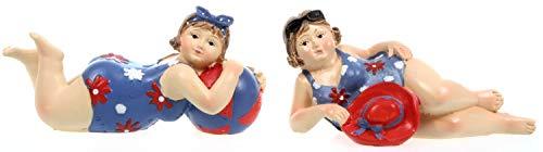 Schick-Design 2 Badenixen - blau - liegend 11 cm mit Ball oder Hut im Badeanzug Mädchen Rubensfrau mollige Dame Dicke Frau Badezimmer Figur Meer Strand Urlaub