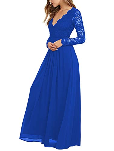 Mathena Women's Long Sleeve Open Back Lace Bridesmaid Dresses Prom Evening Gowns 2 Blue (Apparel)