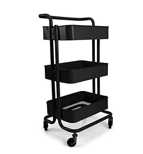 Lw Shelf Carrito de cocina de metal de 3 niveles con asa rodante, ideal para cama, habitación, cocina, baño (color: C)