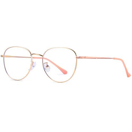 Benefast Blaulichtfilter Brille Damen Herren ohne stärke Computerbrille Gaming Brille Blaufilter PC Brille Bluelight Filter Augenbelastung Reduzieren (Roségold)