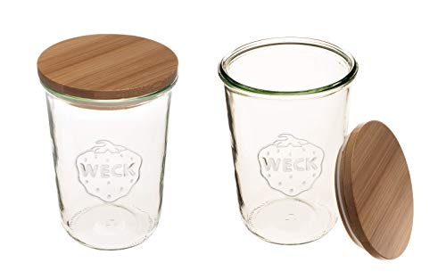 Weck Canning Jars 743 - Weck Mold Jars made of Transparent Glass - Eco-Friendly Canning Jar - Storage for Food, Yogurt with Air Tight Seal and Lid - ¾ Liter Tall Jars Set - Set of (2 Jars with Wooden Lids)