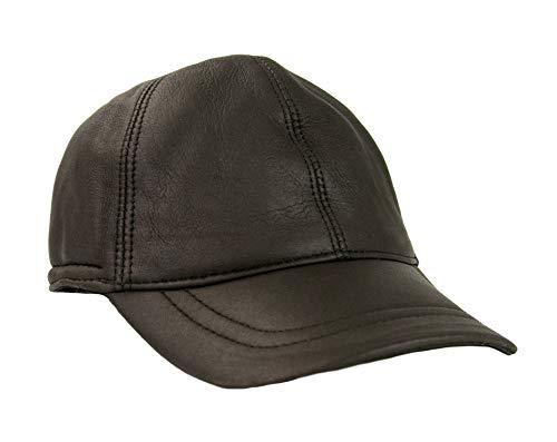 Zerimar Herren Leder Mütze (innen Fell von außen Leder) Leder baskenmütze mit Ohrenklappen Farbe braun Größe M