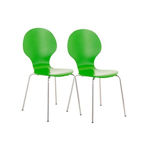 Set De 2 Sillas De Comedor Apilable Diego I 2 Sillas De Conferencia con Asiento De Madera I 2 Sillas De Cocina con Base De Metal I Color:, Color:Verde Claro