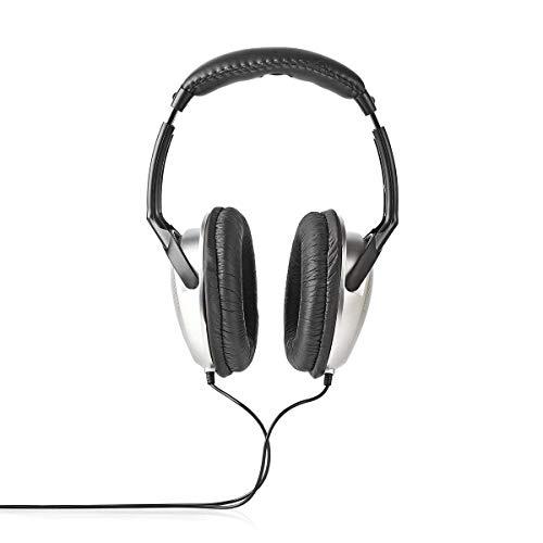 Nedis HPWD1201BK Auriculares Supraaurales | con Cable de 6 m | Plateado/Negro