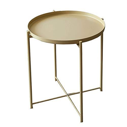 Tabla de acento Tablas de mesa decorativa café bandeja de metal Mesa auxiliar Mesa for sofá pequeña parte redonda anti-óxido y resistente al agua para sala de estar, dormitorio, almacenamiento en