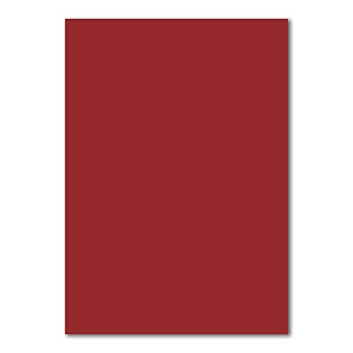 50 DIN A4 Papierbogen Planobogen -Dunkelrot - 160 g/m² - 21 x 29,7 cm - Bastelbogen Ton-Papier Fotokarton Bastel-Papier Ton-Karton - FarbenFroh®