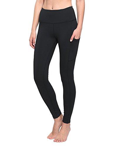 BALEAF Women's High Waist Yoga Side Pocketed Leggings Active Workout Tummy Control Pants Black Size M