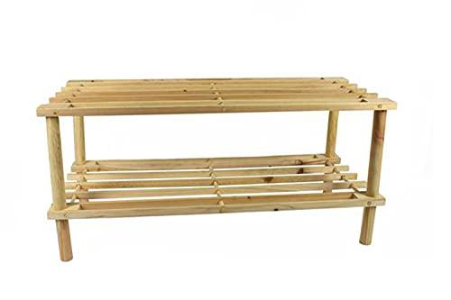 Vetrineinrete® Scarpiera in legno 2 ripiani porta scarpe orizzontale organizer vari colori P2 (Legno chiaro)
