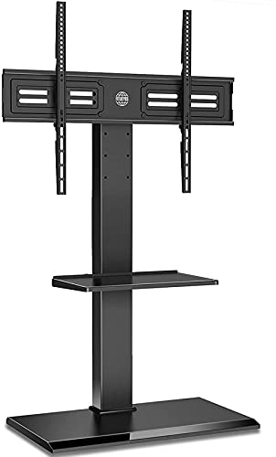 Cantilever TV Stand 2 Shelves with Iron Base for 50' to 80' Screen Swivel Height Adjustable Holds 50kgs MAX VESA 800x600 mm Black