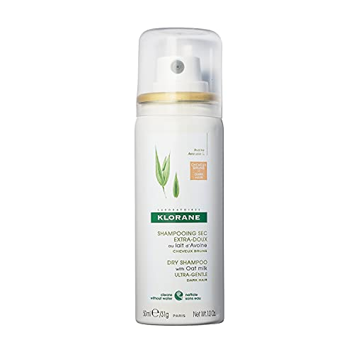 Klorane Dry Shampoo with Oat Milk, For Dark Hair, Natural Tint, All Hair Types, Paraben & Sulfate-Free, Travel Size 1 oz.