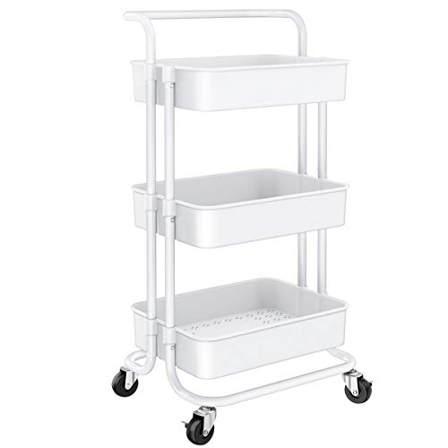 Homemaxs 3 Tier Rolling Utility Cart, Kitchen Cart Storage Shelves with Roller Wheels and Handles, Craft Organizers and Storage Cart for Kitchen, Coffee Bar, Microwave, Storage, Office, Bathroom