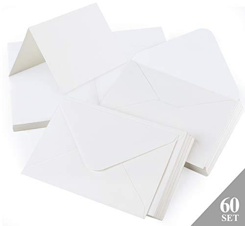 Mocraft 60 Weiß Kraftpapier Karten Set mit umschläge Falt-Karten DIN A6 Klappkarten für geschenk Grußkarten Einladung