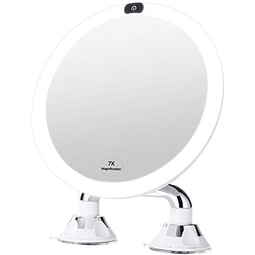 KEDSUM 9' Rechargeable 7x Magnifying Makeup Mirror with Lights, Dimmable Lighted Vanity Mirror with Magnification and Dual Suction Cup, Touch Button, USB Operated