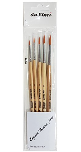 Da Vinci espace beaux arts Davinci GH303 Junior Synthetics Malerpinsel, rund Serie 303, Set 5pcs, 1, 2, 3, 4, 5.
