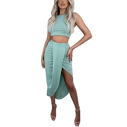 Vestido de mujer sexy fruncido con tirantes y falda dividida de 2 piezas