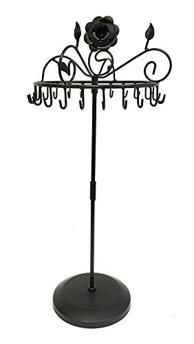 Bejeweled Display Rose on Top 17  H Black Color Rotating Necklace Holder ~ Necklace Organizer~Necklace Stand Jewelry Display