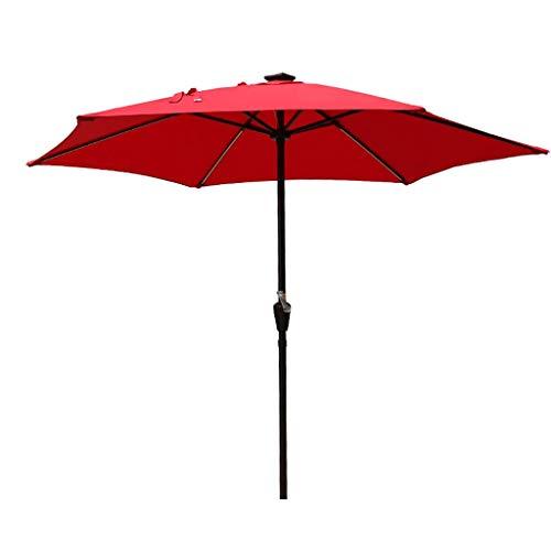 AWJ Parasol de jardín Parasol de Playa Luces LED solares 2.7m Protección UV 40+ con Luces LED solares, manivela para Exteriores, Jardines y Patios (sin Base)
