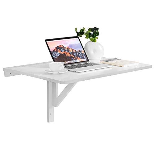 GOPLUS Wandtisch Hängetisch Klappbar, Klapptisch Platzsparend, Tragbarer Verstellbarer Wandklapptisch aus MDF und Kiefer, 80 x 60 x 45 cm, Laptoptisch Schreibtisch für Wohnzimmer Esszimmer (Weiß)