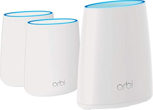 NETGEAR Orbi Tri-Band Whole Home Mesh WiFi System with 1-Yr. Cyber Threat Protection Subscription (RBK43S) – 1 Router & 2 Satellite Extenders | Covers up to 6,000 sq. ft. | AC2200 (Up to 2.2Gbps)