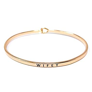 Me Plus Inspirational  WIFEY  Positive Message Engraved Thin Bangle Hook Bracelet (Rose Gold, brass)