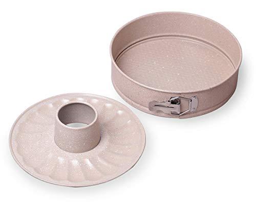 2 tlg Backformen-Set Springform 26 cm Kuchen Torte Backen Antihaft Karbonstahl Rund Kuchenform Backset auflaufsicher