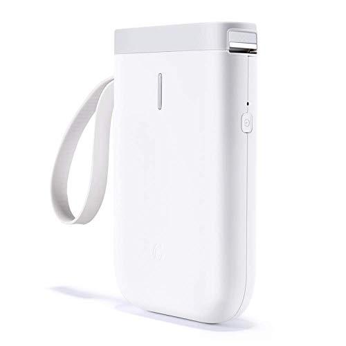 Impresora etiquetas Bluetooth Máquina etiquetadora adhesivas impresora etiquetas térmica portátil,para hogar,colegio,Tienda,nombre,compatible con Android y sistema ios-white