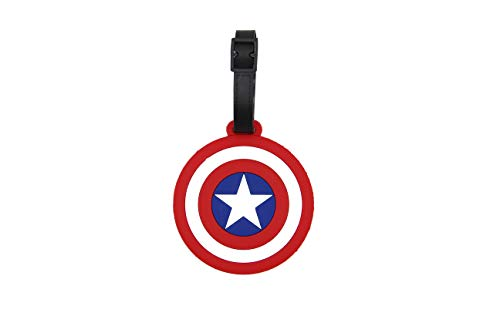 CellDesigns Cartoon Luggage Tag Suitcase ID Tag with Adjustable Strap (Cap America Shield)