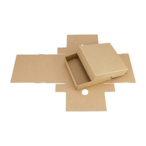 Faltschachtel, quadratisch 105 x 105 mm, Füllhöhe 25 mm, mit Deckel, Kraftpapier, Kraftkarton, Geschenkschachtel, Fotoschachteln - 10er Pack