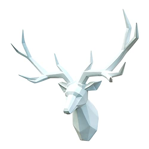 MNYHJDS Deer Head Decoration Wall Hanging Porch Living Room Pendant Modern Minimalist Deer Head Sculpture Size 70 * 50CM Many Colors Are Available J (Color : WHITE, Size : 70 * 50CM)