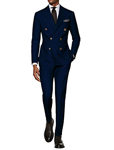 CALVINSUIT Men's 3 Pieces Plaid Suits Single Breasted Slim Fit Formal Wedding Prom Tuxedos Blue