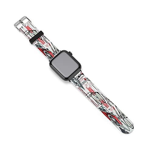Gafas de moda New York London París Apple Watch Band banda de silicona para Apple Watch, adecuado para mujeres y parejas, longitud ajustable, 42mm/44mm,