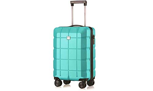ATX Luggage 21'/55cm Lightweight Durable Hardshell ABS CarryOn Cabin Hand Luggage Suitcases Travel Bag with 8 Wheels & Built-in Lock for Ryanair, EasyJet, BA, (21' Carry-on, Mint Green 111)
