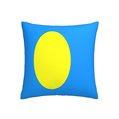 Kissenbezug mit Flagge von Palau, quadratisch, dekorativer Kissenbezug für Sofa, Couch, Zuhause, Schlafzimmer, drinnen & draußen, niedlicher Kissenbezug 45,7 x 45,7 cm