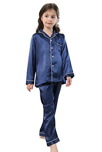 Pajamas Kid Unisex Pjs Set Girls Boys Silk Pajamas Set Satin Long Sleeve 2 Piece Clasic Sleepwear for 2-12 Years Todder Navy