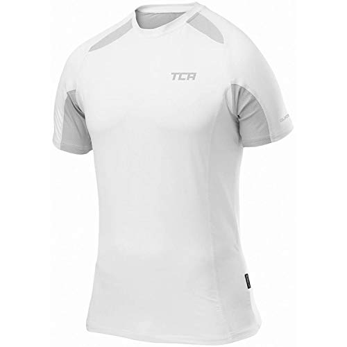 TCA Performance Quickdry Herren Laufshirt/Funktionsshirt - Kurzarm (Weiß), L