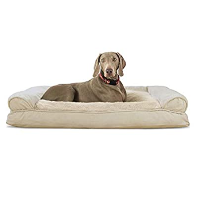 Furhaven Pet Dog Bed - Ultra Plush Faux Fur & Suede Pillow Cushion Traditional Sofa-Style Living Room Couch Pet Bed w/ Removable Cover for Dogs & Cats, Clay, Jumbo