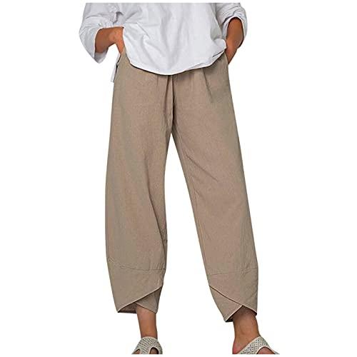 Liably Pantalones de lino para mujer, de algodón y lino, elásticos, con cordón, de cintura alta, ligeros, elegantes, para verano, tiempo libre, jogging, playa, sueltos, de un solo color caqui XXL