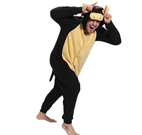"""dressfan Unisexo Pijamas Vaca Pijamas Animales Traje de Dormir Cosplay Disfraz Homewear Mamelucos Ropa De Dormir Comodidad Suave Festival de Carnaval Halloween Navidad (Negro, XL(70""""-74""""))"""