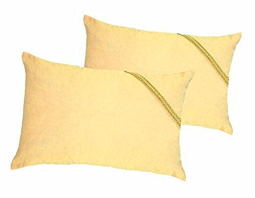 ZIRBENKISSEN - 2er Set - befüllt mit Tiroler Zirbenflocken – Zirbenspäne, Zirbenholz der Zirbe – Zirbelkiefer - Größe Farbe Motiv - wählbar (20 x 30 cm - 2er Set, apricot - Bordüre Honig)