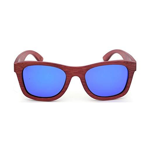 Minicocock Hombres Mujeres Retro ecológicos de bambú Rojo Gafas de Sol de Color de la Lente de la protección UV400 (Color : Blue)