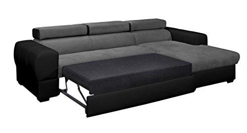 Relaxima Trésor Canapé d'Angle Convertible Droit avec Coffre Têtière Amovible Bois Noir/Gris 266 x 160 x 90 cm