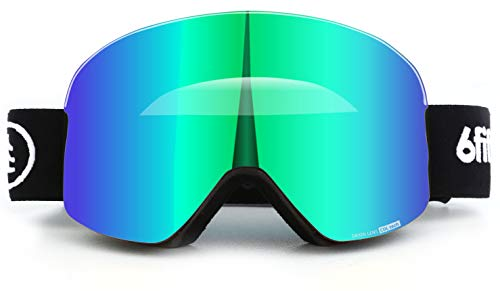 6fiftyfive - Ski Goggles Men and Women - Frameless, Full REVO Coating, Anti Fog, Magnetic Quick Change Lens, 100% UV400, OTG - Ski, Snowmobile and Snowboard