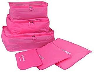 6-pieces Travel Bag Set Organizer Fuschia, TSB-001