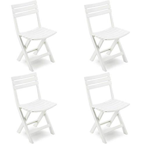 Pack 4 Sillas Plegables Resina Color Blanco