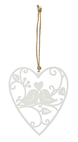 Tabliczka serce 10 x 12 cm dekoracja ogrodowa ptak miłość tabliczka na drzwi biały obraz ścienny dekoracja tabliczka ogrodowa pomysł na prezent