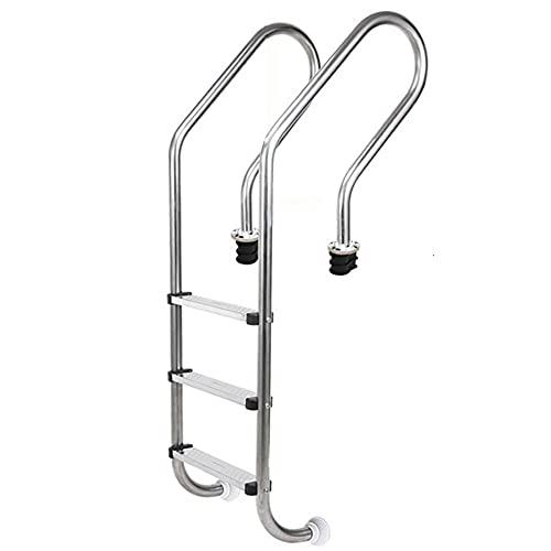 Escalera de piscina, escalera de escalada de pasamanos de piscina de acero inoxidable, equipo de escalera de piscina sobre el suelo, adecuado para interiores y exteriores, empotrado/silver / 5