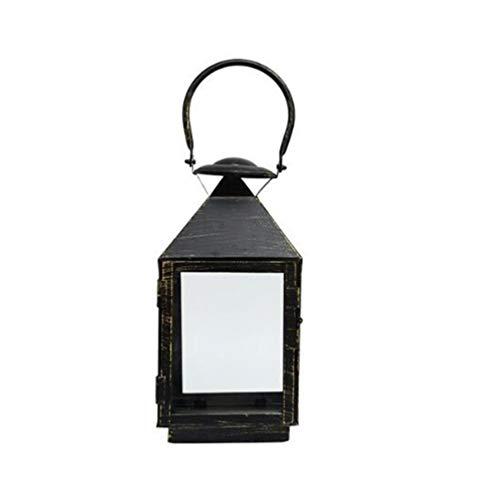 Uonlytech – Farol de metal portavelas colgante retro lámpara de escritorio adorno farol artesanía portavelas para boda en casa aromaterapia Spa decoración