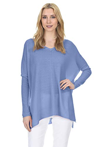 State Fusio Oversized Tunic Sweater Cashmere Wool V-Neck Long Sleeve Pullover for Women (Angel Blue, Small)