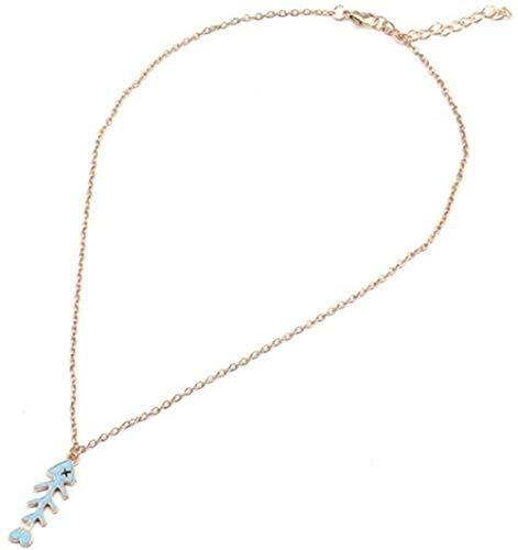 LLJHXZC Collar Esmaltado con Huesos De Pescado Salvaje, Collares Y Colgantes De Cadena Larga para Mujeres, Joyería DIY
