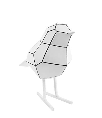 Present Time - Statue Oiseau Blanc Rayures Noires Small Origami
